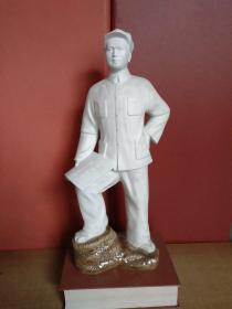 人物雕塑瓷1件:青年毛泽东主席军装草鞋站姿·星星之火可以燎原·罕见造型