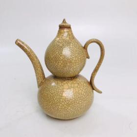 哥瓷葫芦壶,尺寸如图。