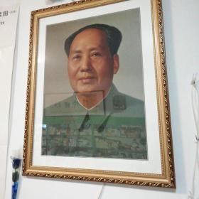 毛主席像全品以裱框,72*53