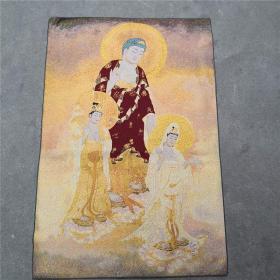 古玩杂项 尼泊尔唐卡金丝刺绣人物织锦唐卡佛像 西方三圣画像画心
