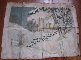 民国时期的木刻套色水印(寒窗苦读图)