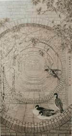 《庭院深深》工笔国画六尺整张