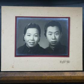 民国 照片 带底板 衬板 粘板 容新 上海 棋盘街交通路 夫妻 30x24 19x14cm