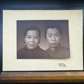 民国 照片 带底板 衬板 粘板 新大陆 上海 夫妻 30x22 19x14cm