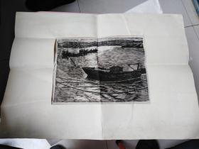 1982年刘海明早期版画《暮》一幅。有作者亲笔签名。山西平遥人,毕业于中央美术学院版画系,著名美术家,擅长版画。北京大学,中国美术馆,大英博物馆,英国女王伊丽莎白,先后收藏了刘海明的版画作品