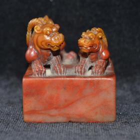 古玩文玩 寿山石 老件 朱沙巧色古兽印章