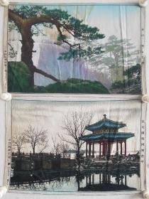 早期丝织品三幅 风景 尺寸40×27厘米×3幅 保真