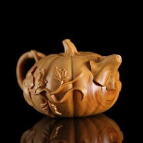 乐清小叶黄杨木雕纯手工南瓜壶/精工之作,把玩包浆后更精美