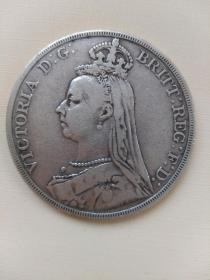 1890年英国,维多利亚,马剑银币一枚〈高银,90%以上〉。