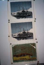 约上世纪60年代朵云轩版画3张合售,详见图片,每张尺寸52*38CM