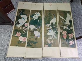 天津杨柳青画社挂轴式四条屏年画   仙鹤 1.2.3.4 全 1988年版印 仅21000册