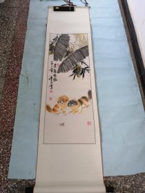 知名画家乐山精品双猫图一幅