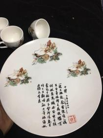 孙悟空三打白骨精 茶壶 茶杯 茶盘 一套六大件 文革瓷器  圆形