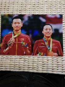 【超珍罕】中国 羽毛球 混双 2012 混双金牌 张楠 赵芸蕾 签名 12寸照片