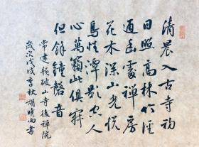 【保真】中国硬笔书法家协会会员、贵州省书协会员胡晓雨作品:常建《题破山寺后禅院》