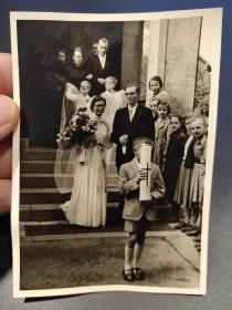 老 照片 德国 结婚 婚礼 两张合售