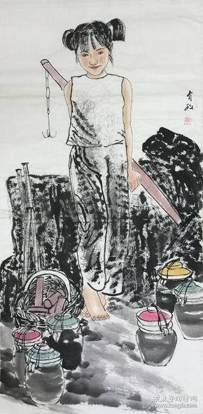●【顺丰包邮】【纯手绘】【王有政】中国美协会员,陕西省美协常务理事、手绘四尺整张人物画(138*68CM)2买家自鉴