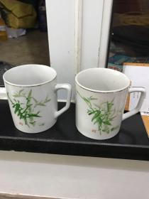 六七十年代中国潮彩手绘竹影清风茶杯 一对2个合售 潮州彩绘瓷杯非常少见!