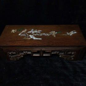 民國 老花梨木鑲貝殼小案桌一張 高8.8cm長30.3cm寬12cm,