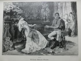 【现货 包邮】1890年木刻版画《为女士效劳》(Galante Dienste)尺寸约41*29厘米 (货号 600575)