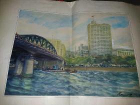 80年代水彩画  广州海珠大桥