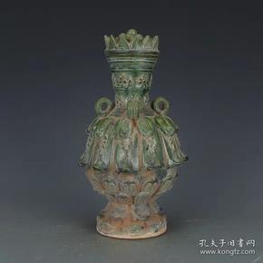 唐三彩绿釉盖瓶