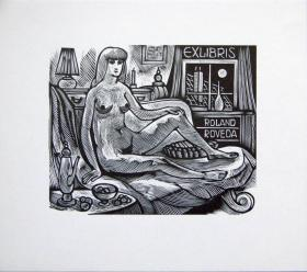 """德国艺术家.""""Jan Battermann """"木板藏书票—《屋中裸女》"""