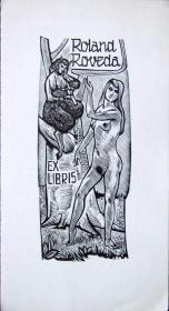 """德国艺术家.""""Jan Battermann """"木板藏书票—《裸女与牧神》"""