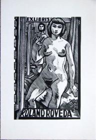 """德国艺术家.""""Jan Battermann """"木板藏书票—《裸女模特》"""