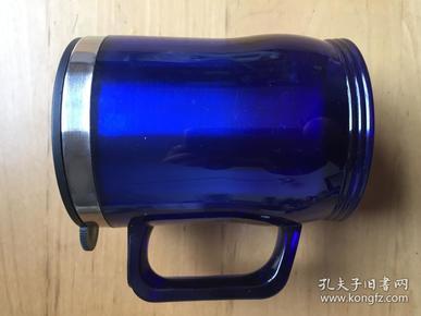 马克杯带盖 不锈钢内胆塑胶家用口杯     蓝色 (企业定制)