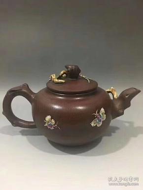 近代制壺名家   朱可心手工精制花卉紫砂壺一把,