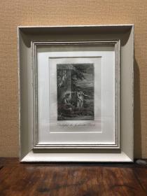 欧洲铜版画 凹版 圣经故事 约为十八世纪(含镜框)外框尺寸:32.5×27.5cm HX