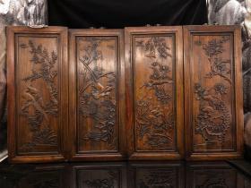 民國老花梨木精刻 春夏秋冬四條屏一套  雕工精細,包漿完好,美品。長45厘米·寬19.5厘米