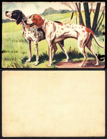 伪满洲国狗和熊明信片 2枚