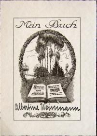 """德国艺术家""""Künstler unbekannt""""铜版藏书票——《原野书籍》"""