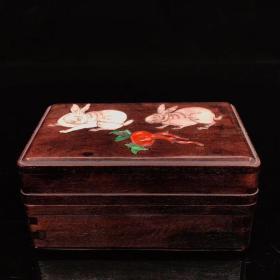 花梨木镶嵌贝壳玉兔图案盒 首饰盒 珍宝盒