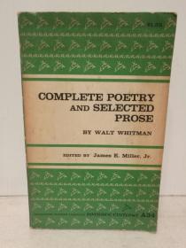 沃尔特·惠特曼诗歌全集及散文选集 Complete Poetry and Selected Prose by Walt Whitman (经典美国文学)英文原版书