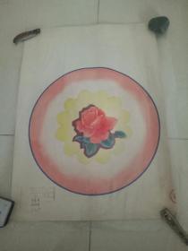 北京市搪瓷厂手绘图案。月季花。