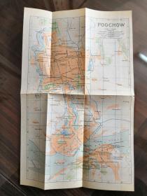 少见 清末《福州老地图》(FOOCHOW) 英文标识绘制,精美可藏 尺寸30X19厘米