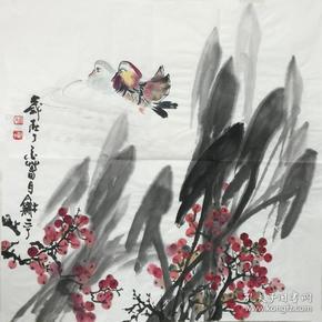 【保真】、〖楊和平〗當代知名藝術家、張大千大師再傳弟子、中國國畫家協會會員、 中國書法家協會山西分會會員、四尺斗方花鳥(69*69cm)4。