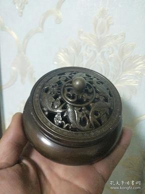 銅器,老物件紅銅爐【三足熏香爐】香薰爐,底雙龍,大明宣德年制字樣款
