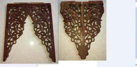 特价民国雕刻精美花板一对松树葡萄图包老怀旧