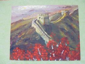 名家手绘油画《金秋十月 漫山红遍》