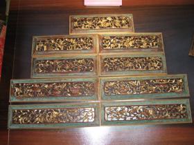 民国描金香樟木人物瑞兽博古木雕9屏一套,收藏精品