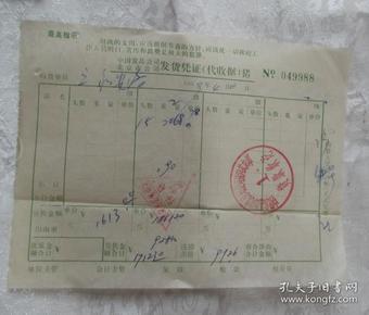 中国食品公司北京市公司发货凭证  带毛主席最高指示