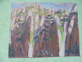 名家手绘油画《蓬莱三岛》