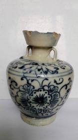 清代;耀州窑系青花花卉、寿字文---酒墩子