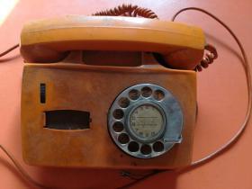 老式拨号电话机(橙色) 重1.4公斤 实物拍摄