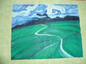 名家手绘油画《青海湖边》