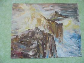 名家手绘油画《咆哮》